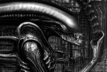 The dark art of HR Geiger / The dark and disturbing artworks of HR Geiger.   Well known by science fiction enthusiasts for his role in the Alien movie series.