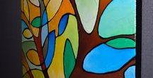 Summer Tree, Original Abstract Geometric Textured Tree Painting