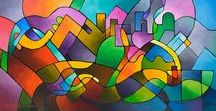 """Journey Back Home, original abstract geometric painting by Sally Trace / My original painting for sale. An abstract cityscape or landscape with a geometric composition and a textured surface. Acrylic mixed media on canvas, 24"""" high, 48"""" wide, 1½ inch deep gallery wrapped canvas. The sides are painted black.  https://www.sallytrace.com/store/p505/journey-back-home-abstract-painting.html"""