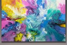 """""""When the Angel Came"""" original abstract fluid painting by Sally Trace / One of my fluid acrylic paintings. As I was finishing this painting, I heard a beautiful song on TV about an angel.  I knew by the timing and the feeling that came with it that this was the title of my new painting """"When the Angel Came"""".  There are cloud-like formations in this image and uplifted movements that have a feeling like wings. I haven't been able to find that song again. 24"""" high, 36"""" wide. © Sally Trace"""
