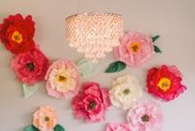 Floral Fabric Paper Lovely / Flowers, PomPoms, Paper Lanterns, Paper, Paper Paper / by Carla Smyrl