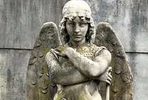 ANGELS watchin' over me... / ...with cherubs,statues and art.