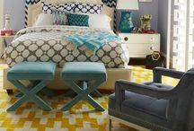 Teen Girl's Room / Moroccan inspired, modern bedroom in navy, gold & white