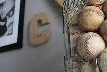N / Grey & black theme with baseball accents (grey walls/ black or red curtains)