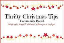 "Thrifty Christmas Tips / This is a community board where pinners can share all their thrifty Christmas tips. Pins must be frugal in nature for example you cannot pin ""8 Christmas Wreaths"" but you can pin ""8 Christmas Wreaths costing $5 or less to make""."