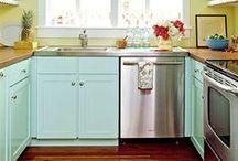 Aqua Kitchen / Aqua colored kitchen cabinets and goods!