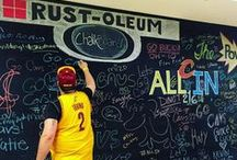 """Rust-Oleum Chalkboard / We've teamed up with Rust-Oleum to create a """"Power to Change"""" chalkboard at The Q -- with artwork by our very own Scream Team member, Carl!"""