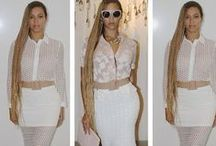 Beyoncé  RARE LONDON / Queen Bey is the latest celeb spotted wearing Rare Londons very own White Laser Cut Chiffon co-ords! How fab does she look?