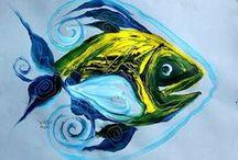 One Fish, Two Fish, J Vincent's Fish!! / Original Art by J Vincent Scarpace