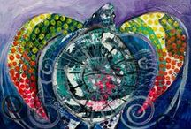 Sea Turtles / Vibrant and original art from J. Vincent Scarpace. Perfect for gifts, mother-in-laws, lonely walls and yourself.