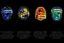 The Four Houses / Godric Gryffindor, Salazar Slytherin, Rowena Ravenclaw & Helga Hufflepuff. / by Justin Burlin