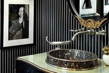 HOME:  Powder Room / Single Sinks ~ Lincoln Downstairs Bathroom (Kitchen/Basement) / by Sophia Zisis-Hazinski