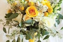 Yellow Wedding Day Board / Yellow themed wedding with yellow bouquets, decor, Flower Girl tutus, bridesmaids dresses for a special day!
