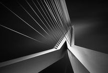 Abstract Architecture / Black and white. Shapes. Lines. Angles. Diagonals. Rectangles. Geometric. Light. Shadows.