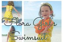 Flora Girls' Swimsuit / Free swimsuit pattern and tutorial in size 3/4T at Sew Pomona.  The flora swimsuit features an open back with neck tie, an optional swim skirt and comfy boyshorts. http://sewpomona.com/2015/05/29/free-pattern-flora-girls-swimsuit/