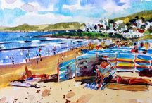 Beach / Website: www.stevepp.co.uk. Pack your bag with towels and suncream, a good book, swimming costume and head off to the beach. Paintings and Prints of Woolacombe. Watercolour and Oil paintings by Steve PP. Woolacombe Artist.  Beach and Surf lifestyle art.