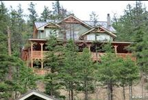 Kamloops Timber Frame finished project / Log or timber frame homes are both stunning and unique. This is the finished project of one of our designs, the Kamloops Timber Frame. #timberframe #floorplans #TBT