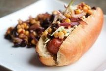 ⌘ World of  . . . HOT DOGS / Anything and everything hot dog.  National Hot Dog Day - July 23 National Corn Dog Day - Mar. 17 National Pigs-in-a-Blanket Day - Apr. 24 / by Deborah Russenberger