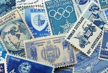 Blue and white stamps