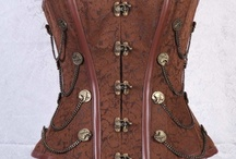 Steampunk Corset  / Steampunk Overbust corset with original Steampunk button , Was for $199 now available for $89.99.
