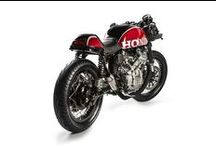 Cafe Racers / Café Racers. Mainly Honda and Yamaha, with a few German and English bikes.  / by Mike Meyers