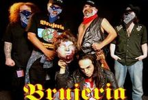 """Brujeria / Brujeria is an American extreme metal band formed in Los Angeles, California in 1989. Their name comes from the Spanish word for """"witchcraft"""". Their songs which are sung in Spanish are focused on Satanism, anti-Christianity, sex, immigration, narcotics smuggling, & politics. Ironically, despite Spanish lyrics, portraying a Mexican image & with a heavy anti-American stance, the majority of the band's members are actually American-born with some being Swedish/British."""