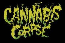 "Cannabis Corpse / Cannabis Corpse is a marijuana-themed death metal band from Richmond, VA, formed in 2006. The band features members of Municipal Waste, GWAR, & Antietam 1862. Their name originates from a parody of the name for veteran death metal band Cannibal Corpse. While the Cannabis Corpse songs are fully original, their album and song titles are parodies of many other death metal bands' album and song titles (e.g. ""Tube of the Resinated"" vs Cannibal Corpse's ""Tomb of the Mutilated"")."