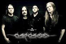 Carcass / Carcass are a British extreme metal band from Liverpool, who formed in 1985. Although widely regarded as pioneers of the grindcore genre, their early work was also tagged as splatter death metal, hardgore, and goregrind; on account of their morbid lyrics and gruesome album covers. However, they also became one of the pioneers in the subgenre known as melodic death metal with their 1993 album Heartwork.