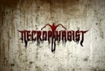 """Necrophagist / Necrophagist is a German technical death metal band, founded and fronted by guitarist & vocalist Muhammed Suiçmez. The band is known for its rapid & technical compositions. The name originates from the Greek roots νεκρο- nekro- (""""dead body"""") & -φαγος -phagos (""""eater of""""). This literally translates to """"eater of the dead""""."""
