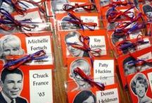 """Who are you? / Name badges and place cards are important reunion details. Make it easy for guests to """"remember"""" others as soon as they see the name."""