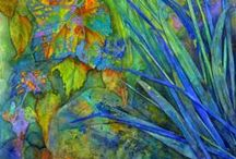 Art by Sheri Trepina / I design colorful, textural paintings inspired by elements of nature.   The technique of Collage is a favorite; I love the rich textures and line you get by the layering of delicate papers and paint. The movement of paint and water against these layers is exciting; to me, and gives my work an abstract quality.