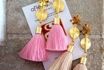 Aflé Bijoux Cotton Tassels Earrings / New collection - Fall 2015 www.aflebijoux.com Ethno Chic Handmade beautiful, colorful, feminine, very light to wear. Luxe cotton tassels, medium size akan gold weights, gold plated flowers. Available in 29 colours. Length: 8cm / 3.1 inches Gold plated earwires. Nickel Free.