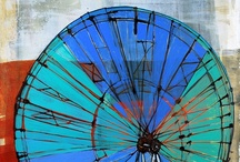 Wheel Drawings / Based on Ferris wheels, this series of drawings are acrylic and mixed media on Rives BFK.  (c) 2012 Barbara Gilhooly