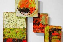 Pattern Language 2014 / Series of small tile paintings on wood, acrylic, ink with carved surfaces mounted on wood blocks of various depths. (c) 2014 Barbara Gilhooly