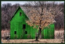 Barn Beauties / Old barn beauties-as is, painted, reinvented, in the sunlight, in the moonlight, in the snow, under rainbows and surrounded by flowers, trees, and scenic countrysides around the world! Barns that speak to my heart!