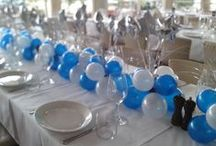 """AIR Table arrangements - Spangles / Posie / Topiary Tree / Fantasy Tree / Cute air filled 5"""" balloons are used to create long lasting arrangements. These can be colour coordinated to your theme. Customise these further with addition of small foil stars, letters or numbers  / by Balloons Online"""