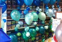 Bubble Strand Balloon / Our Classic Bubble Strand is around 2m tall for a floor arrangement or 1.6m for a table arrangement.  Balloons of all different sizes are attached to light fishing wire so it looks like they are floating like bubbles / by Balloons Online