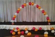 Arch - Helium / Very effective helium archway.  For short term one day events - try a helium string of pearl archway - subtle. Great for any party - double door sized or can be supersized for larger spaces to really make a bold entry or made extra large and thick in the Continuous Curve variety or set off columns for extra height and a Grecian feel / by Balloons Online