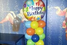 """Balloon Columns / We can make columns in any size (half columns 1m, full size 1.8m or super-size at 2.5m+). You can customise these further by including a feature balloon up top - a 1m Megaloon, 3ft Sphere balloon, 36"""" message balloon (eg Birthday, Congrats) or just a giant shape (choose from our plain shapes or large animals and creatures)  Or for a more unique look, choose our Corinthian Columns which we can also add a Dance Floor Canopy to for a real WOW factor / by Balloons Online"""