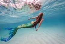 Swimming Mermaids / Mermaids and mermaid tails in the ocean and in the pool and on the beach and inspiration for such.
