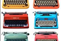 """Typewriters ~ Máquinas de escribir / """"Much as I like owning a Rolls-Royce, I could do without it. What I could not do without is a typewriter, a supply of yellow second sheets and the time to put them to good use."""" ~John O'Hara / """"Por mucho que me gustaría ser dueño de un Rolls-Royce, podría hacer sin el. De lo que no podría prescindir es de una máquina de escribir, una provisión de hojas amarillas y el tiempo para darles un buen uso."""" ~John O'Hara  / by Irene Niehorster"""