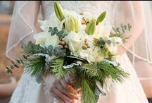 Winter Whites / Christy and Chad chose beautiful shades of white featuring asiatic lilies, hydrangea, roses, dusty miller, and peach hypericum berries.  Photos by Taisia Gordon Photography