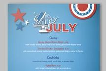 Fourth of July / Nothing says summer like grilling outside, classic side dishes and a whole bunch of cool treats!  Our July 4th menu templates provide fun backgrounds for your special summertime fare.