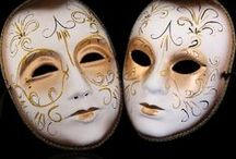 Masks / I have a small collection of Venetian and Mardi Gras masks. Venetian masks are worn during the Carnival in Venice, which is similar to Mardi Gras.  / by Kathy Canevari