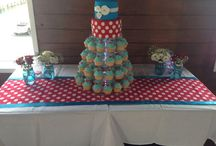 40th party - decorations - red and teal theme