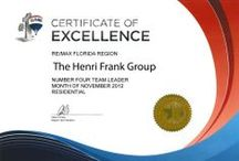 Awards | Residential & Commercial Real Estate / Awarded by regional RE/MAX offices, The Henri Frank Group received a certificate of excellence for sales performance.