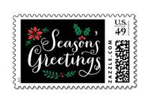 Christmas Stamps / Stylish and unique custom Zazzle Christmas holiday postage stamp designs for the winter season