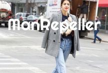 ManRepeller / Leandra Medine  man·re·pell·er1  [mahn-ree-peller] –noun she who outfits herself in a sartorially offensive mode that may result in repelling members of the opposite sex. Such garments include but are not limited to harem pants, boyfriend jeans, overalls, shoulder pads, full length jumpsuits, jewelry that resembles violent weaponry and clogs. –verb (used without object),-pell·ing, -pell·ed. to commit the act of repelling men.