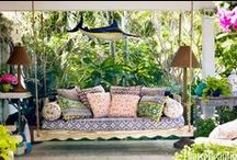 SWINGS AND THINGS / I love, love swings, hammocks and hanging beds.  I can just see myself relaxing in one of these.