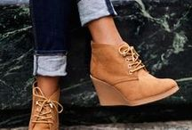 Kevia Styles: Daywear / Wedges and cut-outs are fund trends this fall. Great boot look but still breathable for warmer winter. Flats, booties and low heels. Neutral no-heel boots and non-club heels.